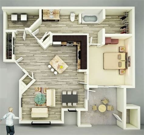 Top Apartment Floor Plans by 25 One Bedroom House Apartment Plans