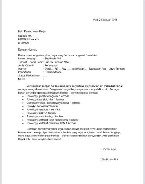 Penulisan Sul Lamaran Kerja by Contoh Penulisan Surat Lamaran Pekerjaan Untuk Bidan