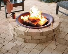 Finished Fire Pit Rumble Stone From Home Depot  Backyard Patio Redesign P