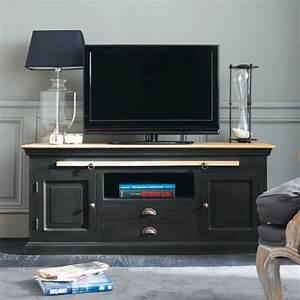 Meuble Tv Manguier : meuble tv en manguier noir l 140 cm meuble tv maison du monde et tv ~ Teatrodelosmanantiales.com Idées de Décoration