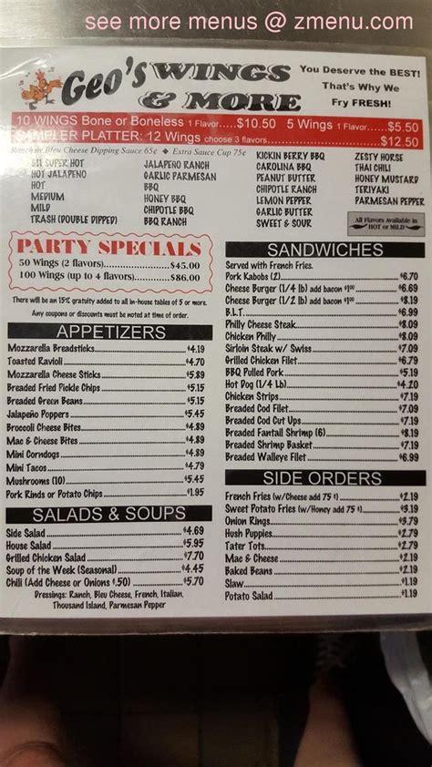 menu  geos wings  restaurant belleville illinois  zmenu