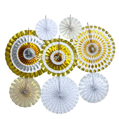big lots fans on sale 2 set paper pinwheel fans metallic gold silver foil party