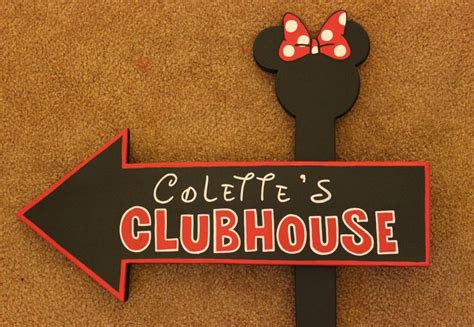 mickey mouse outdoor l post wood micky mouse or minnie mouse clubhouse sign outdoor