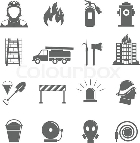 14569 firefighter equipment clipart black and white firefighting black silhouette icons set of protection