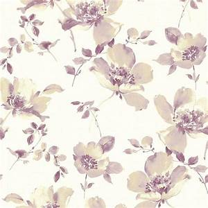 Brewster Ludor Purple Floral Wallpaper Sample