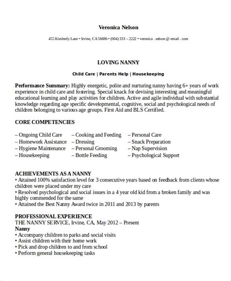 Professional Nanny Resume by Nanny Resume Template 5 Free Word Pdf Document