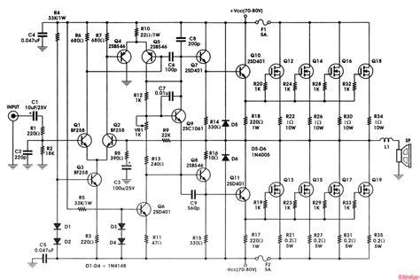 Schematic Power Amplifier Watt Circuit Diagram Images