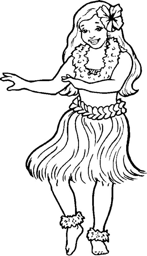 hula girl clipart  girl coloring   cliparts  images  clipground