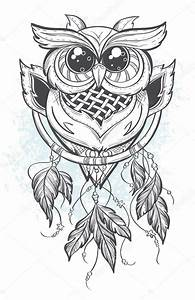 Dreamcatcher outline vector illustration with owl feathers ...
