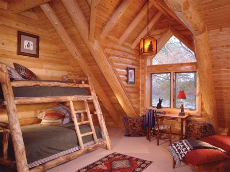 floor bedroom  contained   gable dormer created  log rafters white cedar log
