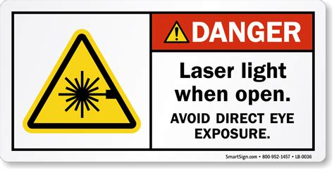 Laser Light When Open Avoid Eye Exposure Label Sku Lb