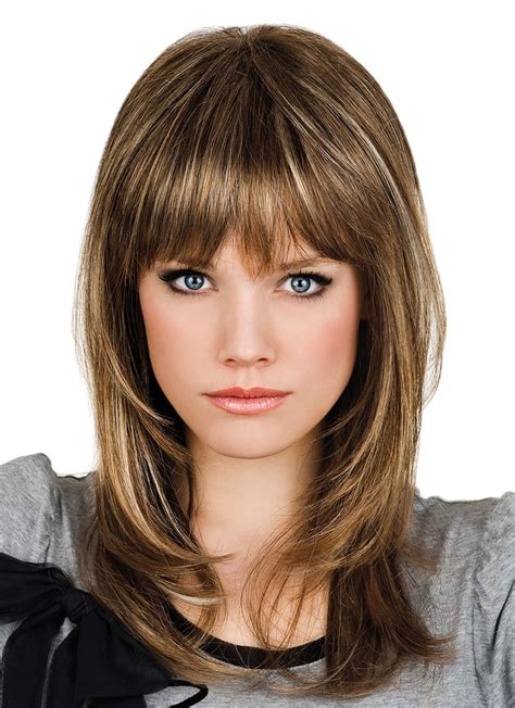 human hair medium length capless wigs with full bangs