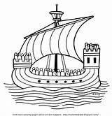Coloring Ship Ancient Ships Sail Greece Template Bible Sailors Ocean Sketch sketch template