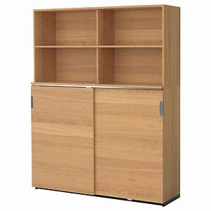 Galant storage combination w sliding doors oak veneer for Ikea storage furniture