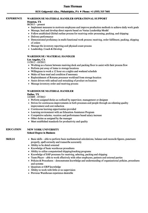 Sle Resume For Material Handler by Warehouse Material Handler Resume Sles Velvet