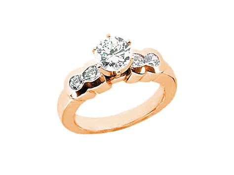 3/4ct Round Diamond Engagement Ring Bezel Set Accents 10k