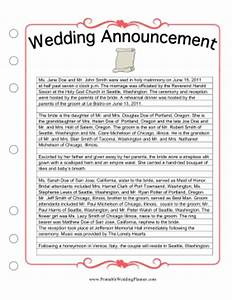 newspaper wedding announcement sample With wedding announcement templates newspaper