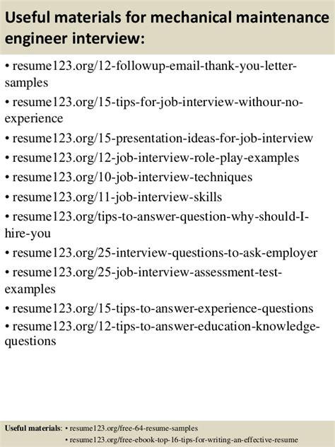 top 8 mechanical maintenance engineer resume sles