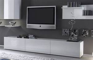 Meuble Tv Bas Long Blanc