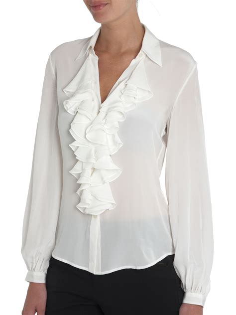 ruffled blouses by ralph ruffle front silk blouse review
