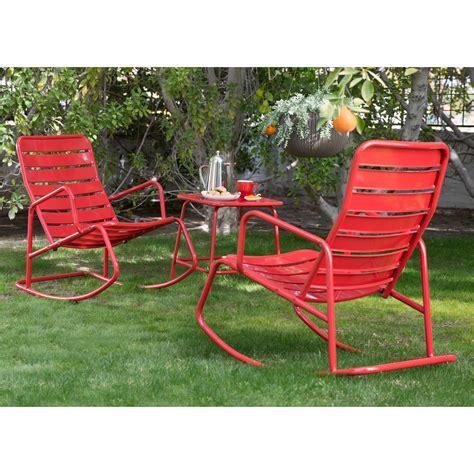 Belham Living Adley Outdoor Metal Rocking Chair Set with
