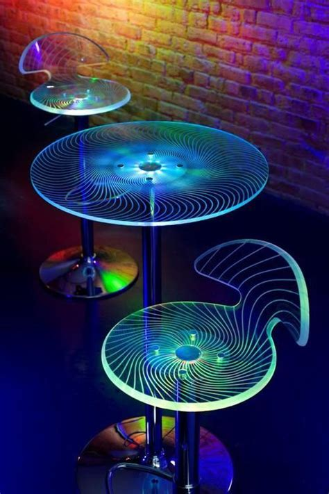 LED Acrylic laser etched table bar stools   www