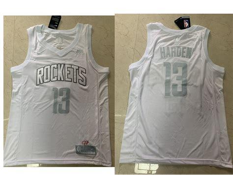 Men's Houston Rockets #13 James Harden White Golden Nike ...