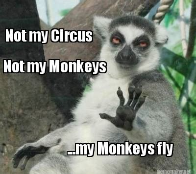 Flying Monkeys Meme - meme maker not my circus not my monkeys my monkeys fly meme maker quotes pinterest