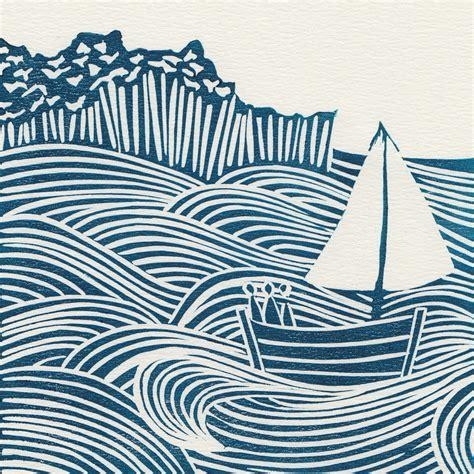 Sea Days original linocut print