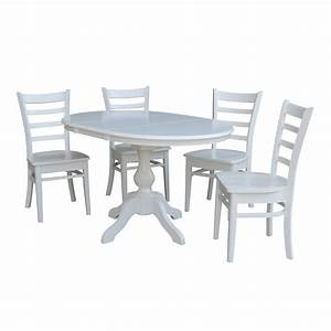 36, U0026quot, Round, Dining, Table, With, 12, U0026quot, Leaf, And, 4, Emily, Chairs, U2013, White, -, 5, Piece, Set