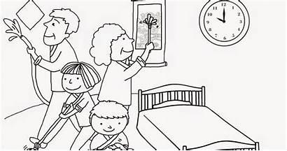 Cleaning Mewarnai Coloring Gambar Keluarga Kebersihan Anak