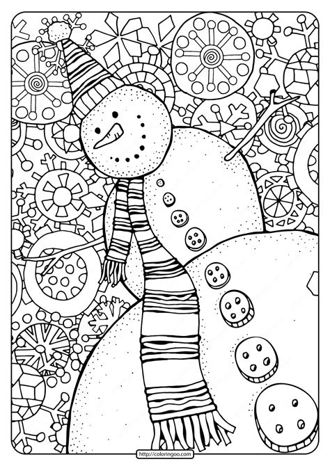 happy snowman  snowflakes  coloring page