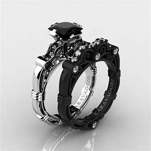 art masters caravaggio 14k black and white gold 125 ct With black gold diamond wedding ring