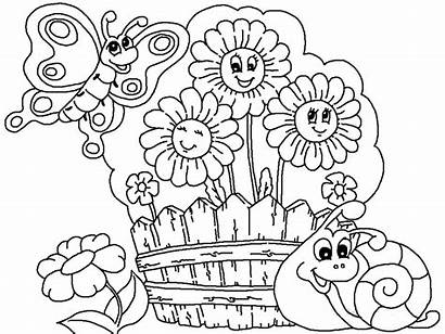 Coloring Garden Pages Flower Printable Drawing Flowers