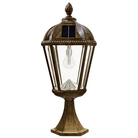 outdoor solar l post lights gama sonic royal bulb series outdoor weathered bronze
