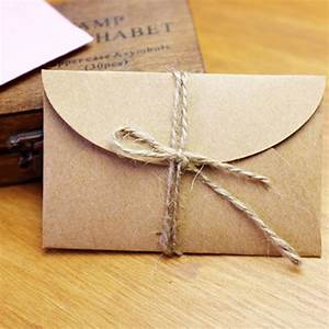 50pcs set vintage love small brown pink kraft blank mini With blank wedding invitation paper and envelopes