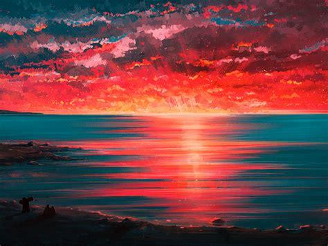 wallpaper sunset seaside couple beach horizon digital