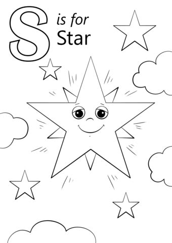 Letter S Is For Star Coloring Page  Free Printable Coloring Pages