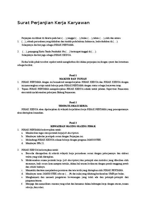 Contoh Surat Kesepakatan Bersama Antara Perusahaan Dengan Karyawan - Barisan Contoh