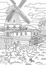 Coloring Farm Adult Country Printable Adults Sheets Favoreads Mill Scenes Bundle Doodle Drawing Windmill Windmills Scene Puppy продавец Dutch sketch template