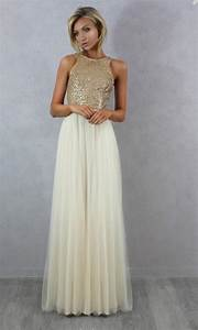 charmming chiffon tulle with top champagne gold sequin With champagne gold wedding dress