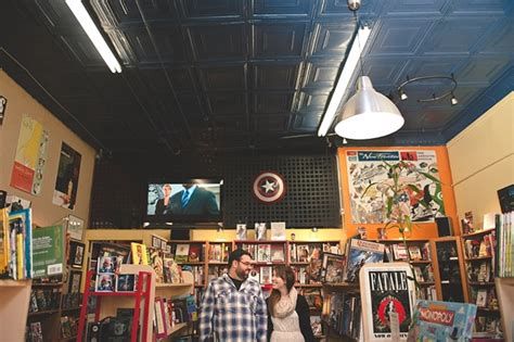 quirky comic book store engagement session tidewater