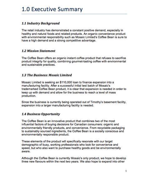 executive summary exle for business plan keni