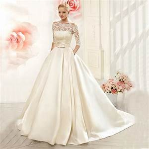 luxury ball gown lace wedding dresses 2016 satin with With 3 4 sleeve ball gown wedding dress