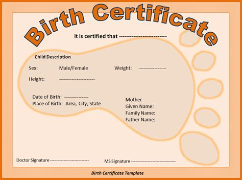 Birth Certificate Template by Birth Certificate Template Free Word Templatesfree Word