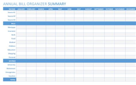 bill organizer templates printables