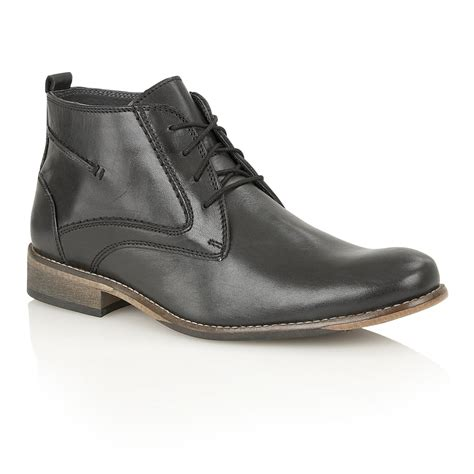 Lotus Men's Noah Black Leather Ankle Boots  Men's From