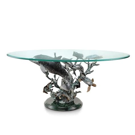 Gather your guests around this dolphin duet coffee table from everything nautical. Dolphin Coral Seaworld Brass Marble Coffee Table Turtle Nautical Sculpture,42''W #SPIHome # ...