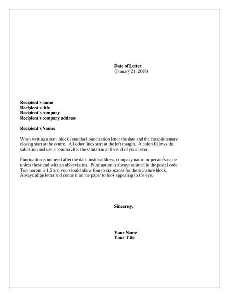 formal business letter format templates examples