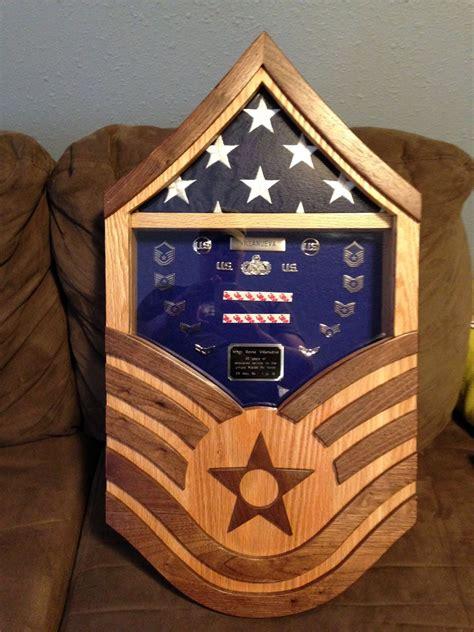 handmade air force master sergeant shadow box  stars